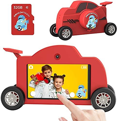 "Dragon Touch Mini Cámara Infantil para Niños con Grande de Pantalla Táctil 3.0"" IPS /48MP/ WiFi/Tarjeta TF de 32GB, Cámara de Fotos Digital Infantil con Forma de Coche de Carreras"