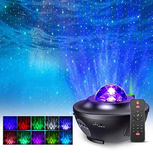 Projecteur Étoiles Rotatif, FOCHEA 21 Modes Éclairage Planetarium Projecteur Luminosité Réglable avec Haut-Parleur Bluetooth, Télécommande, Minuterie pour Décoration de Bébé Chambre Salon