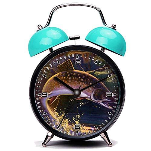 girlsight Blauer Wecker, Nette Katze Vintage Sport Forelle Fisch Angeln, Catch n Release Twin Bell Wecker mit Nachtlicht