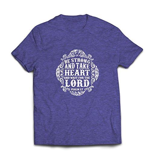 lepni.me Männer T-Shirt Warte auf den Herrn - Bücher über die Psalmen - Ostern - Auferstehung - Geburt Christi - Religiöse christliche Geschenke (X-Large Heidekraut Blau Mehrfarben)