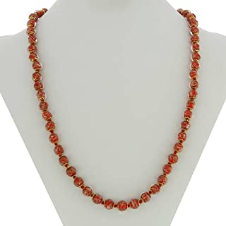 Murano Glass Sommerso Long Necklace - Red