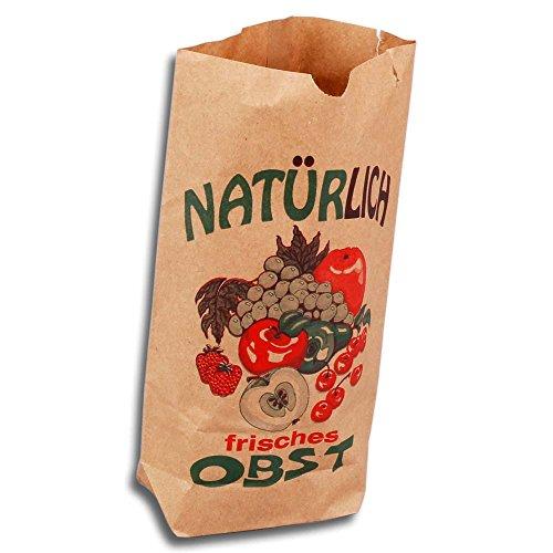 Wertpack 500x Bodenbeutel für Obst Natürlich frisches Obst, Kraftpapier, 2 kg, 23x37 cm