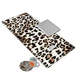 Desk Mat Gaming Mouse pad for Laptop, Leopard Fur Customized Design Printed Desk pad, Home Office Accessories, with Sunflower Coasters and Cute Stickers