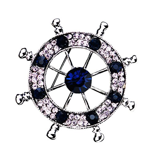 Men Nautical Brooch Badge Pin Ships Wheel Helm Pin Pin Clips Navy Style Crystal Corsages - Silver
