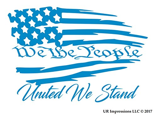 UR Impressions OBlu We The People United We Stand - Tattered American Flag Decal Vinyl Sticker Graphics Car Truck SUV Van Wall Window Laptop|Olympic Blue|7.5 X 5.1 Inch|URI490-OB