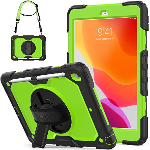 Kids Case for iPad 10.2 2019/ iPad 7th Generation, Shockproof 360° Rotatable Handle Stand Strap Cover Protective Case with Screen Protector/Pencil Holder for Apple iPad 10.2' 7th Gen, Black/Green