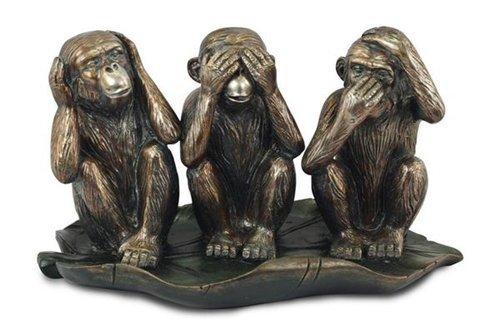 Signes Figura decorativa de 3 monos blancos, resina, 27 cm