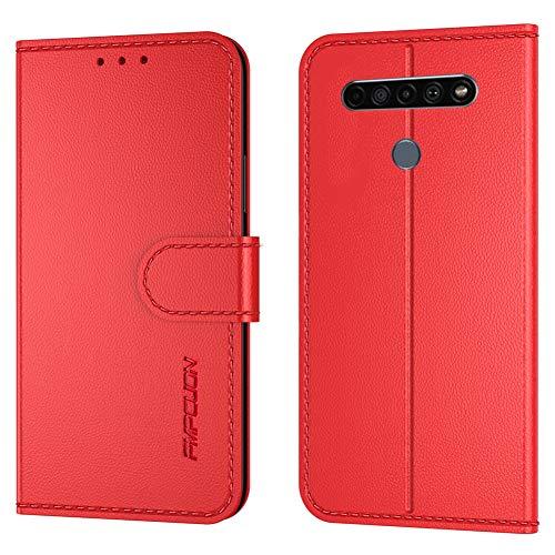 FMPCUON Handyhülle Kompatibel mit LG K41S/K51S(Neueste),Premium Leder Flip Schutzhülle Tasche Hülle Brieftasche Etui Hülle für LG K41S/K51S,Rot