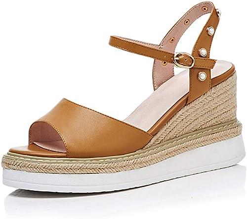 Yierkangxie Sandales compensées Les Les dames dames - été - Talons Hauts - épaisses - Sandales - Chaussures Plates Confortables - Chaussures Femmes - Mode - 8 cm (Couleur   blanc, Taille   36 US6)  Commandez maintenant