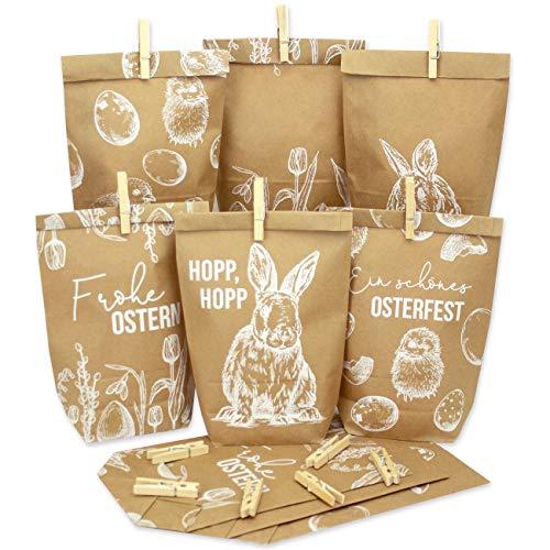 12 weiß bedruckte Geschenktüten zu Ostern - weiß bedruckt mit Hasen, Ostereiern und Frohe Ostern - ideale Geschenkidee oder Oster Dekoration | Osternest zum Basteln und Verschenken | Ostern 2021