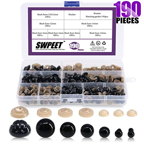 Swpeet 180Pcs Black Assorted Sizes Plastic Safety Eyes and 10 Pcs Noses Set for Doll, Puppet, Plush Animal Making and Teddy Bear