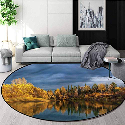 Best Price RUGSMAT Russia Modern Machine Washable Round Bath Mat,Cold Northern Tranquil Lake Nursery...