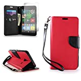 CoverON for Microsoft Lumia 640 XL Wallet Case [Carryall Series] Flip Credit Card Phone Cover Pouch (Red & Black) with Screen Protector and Wristlet Strap