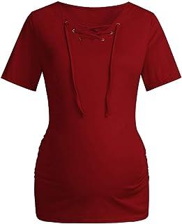 SuperSU Damen Striped Splei/ß Kurze /Ärmel Umstandsshirt Mutterschaft Klassische Seite Geraffte T-Shirt Tops Schwangerschaft Kleidung,Mama Umstandsmode Casual Umstands Umstandstop