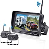 FHD 1080P Digital Wireless Dual Backup Camera 7'' DVR Monitor Kit High-Speed Rear Observation System for Trailer/RV/Truck/Camper Split Screen Night Vision IP69K Waterproof Driving/Reversing Use - V23