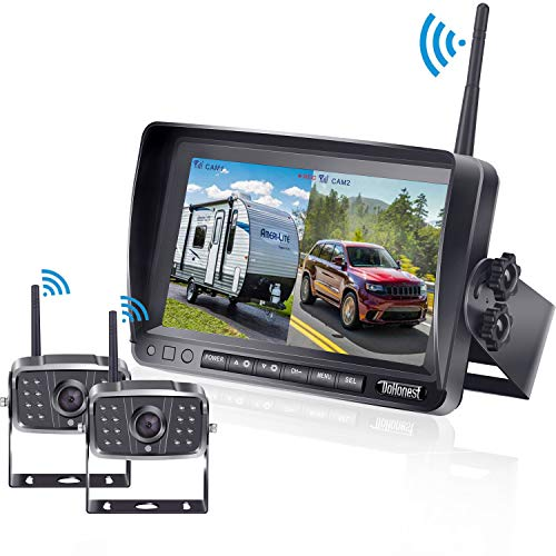 FHD 1080P Digital Wireless Dual Backup Camera 7'' DVR Monitor Kit Split Screen for Trailer/RV/Truck/Camper Rear/Side/Front View Camera Night Vision IP69K Waterproof Driving/Reversing Use