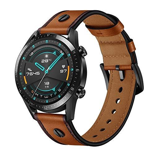 XYL-Q Correa de Reloj Watch Correa De Cuero 22 Mm para La Correa De Reloj De Huawei GT2e / GT2 46mm (Rojo Oscuro) (Color : Brown)