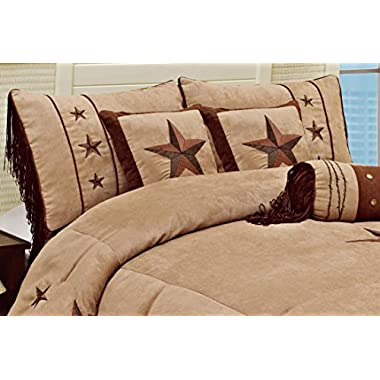 7 Pieces WESTERN Lodge Oversize Comforter Set Taupe Brown Lone Star Micro Suede Queen Size Bedding