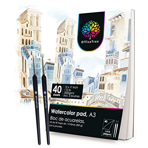 OfficeTree A3 Carta Acquerello 300 gr - 40 Fogli Acquerello A3 - Carta per Aquerello, Pitture, Disegni - 2 Pennelli Gratis