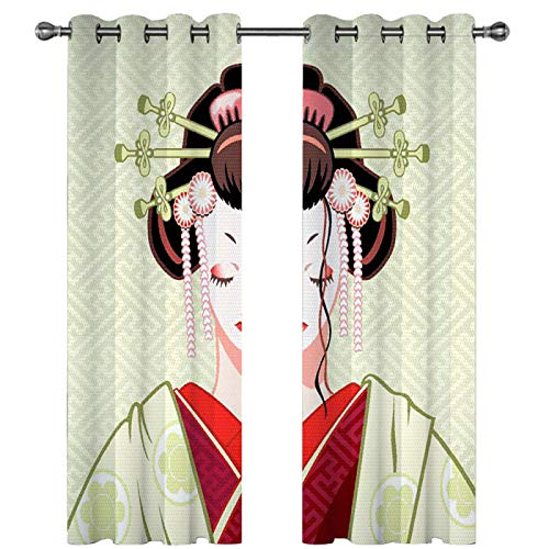 SSHHJ 3D Digital Printing Curtain No Need To Perforate The Curtain For Easy Installation Suitable For Garden, Kitchen, Bedroom Curtains 2 Pieces
