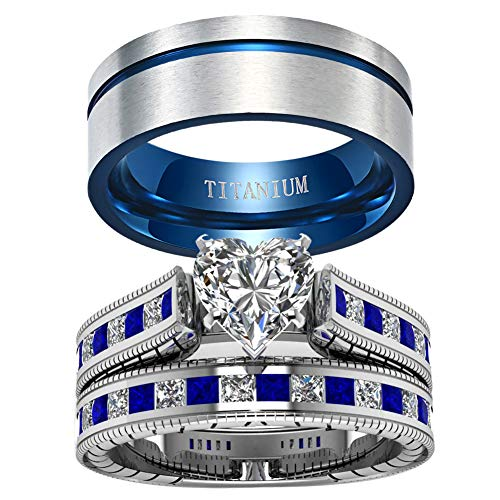 ringheart 2 Rings His and Hers Couple Rings Heart Cz Womens Wedding Ring Sets Blue Titanium Steel Mens Wedding Bands
