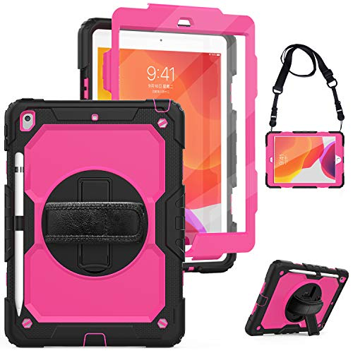 New iPad 7th Generation 10.2' Case 2019 with Screen Protector&Pencil Holder,Herize New iPad 10.2 Case with Rotatable Stand, Hand Strap and Shoulder Belt, Shockproof Case for iPad 10.2 inch Tablet Rose
