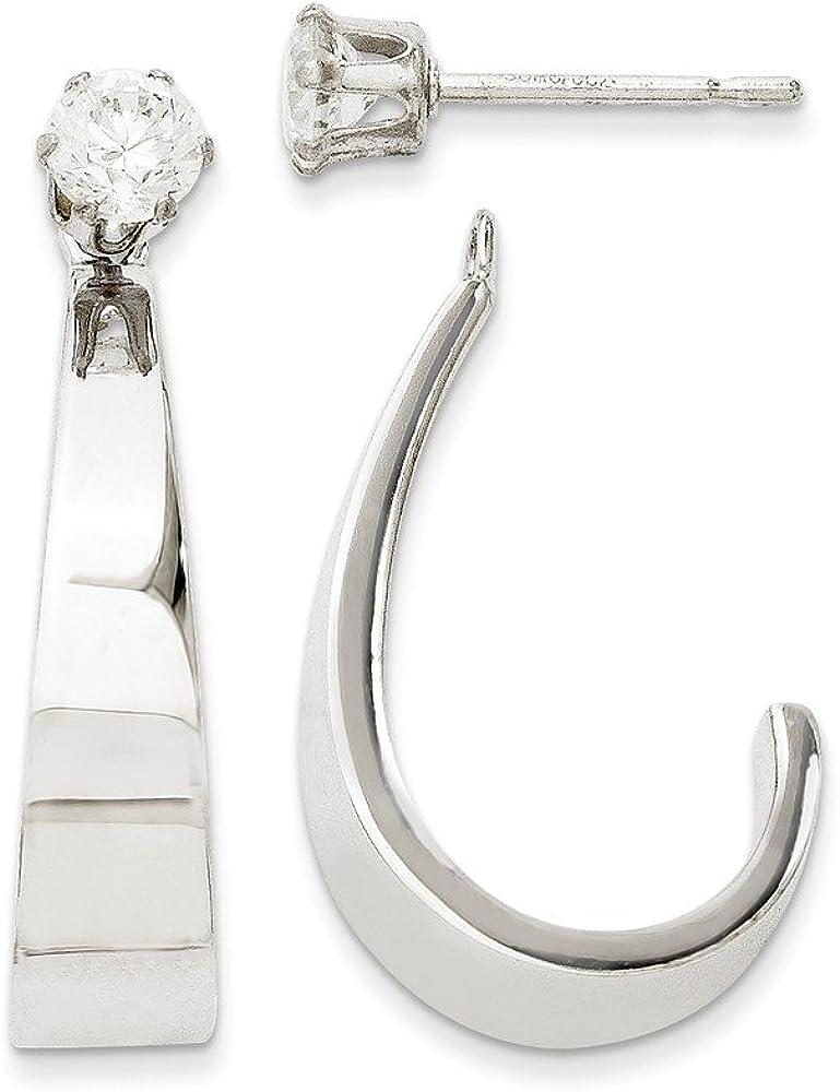Genuine 14k White Gold J Hoop w/CZ Cubic Zirconia Earring Jackets 25x5mm
