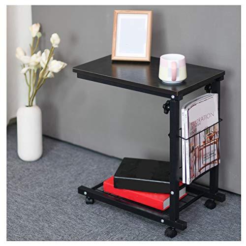 WERTYG Mesa de escritorio portátil multifuncional extraíble con ruedas, cajón, cama, sofá, libros, estantería plegable (color: negro sauce)