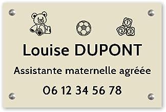 Personaliseerbaar bord voor kleuterschoolassistent, personaliseerbaar, afmetingen 30 x 20 cm, beige met zwarte letters – s...