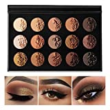 Nude Gold Eyeshadow Palette Natural Naked Smokey Warm Neutral 15 Shades, DE'LANCI Ultra-Blendable High Pigmented Matte Shimmer Matallic Long Lasting Waterproof Eye Shadow Pallet, Travel Size Makeup