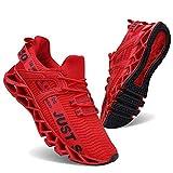 COKAFIL Mens Walking Shoes Running Athletic Fashion Tennis Blade Sneakers, E-red, 8.5
