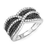 Dazzlingrock Collection 1.15 Carat (ctw) 10k Black & White Round Diamond Ladies Cocktail Ring, White Gold, Size 7