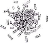 Cheriswelry 100 juegos de cierres de rosca de latón con rosca de platino, tubo de columna de barril, punta de extremo para pulsera y agujero: 1 mm