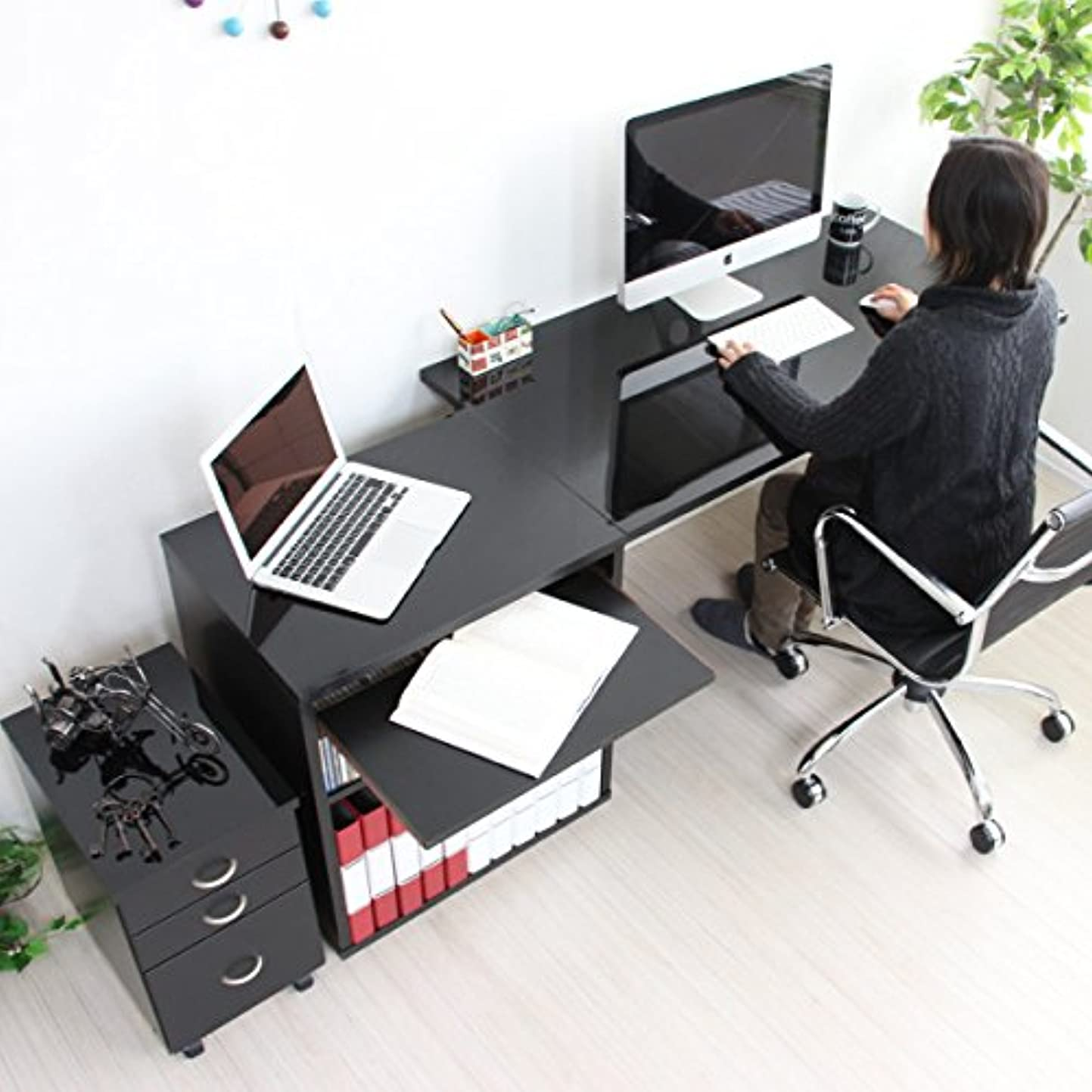 厳密にファンタジースクレーパーパソコン デスク 鏡面 120cm 幅 60cm 幅 ラック スライドテーブル チェスト ブラック 日本製 JS18N-BK