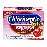 Chloraseptic Total Sore Throat + Cough Lozenges | Wild Cherry | 15 CT | 6 Pack