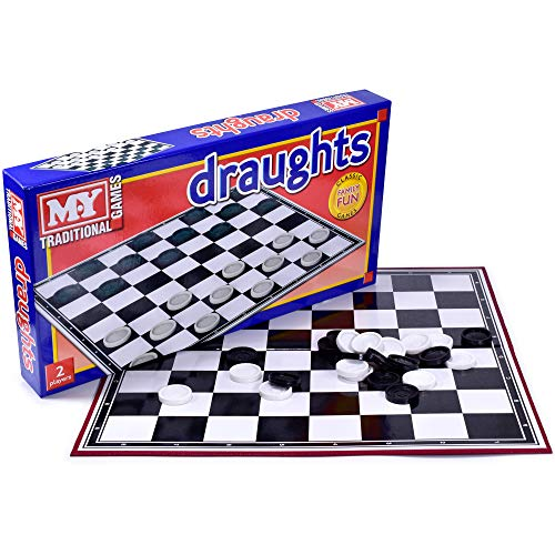 KandyToys M.Y Draughts Game - Traditional Checkers Board Game for Kids & Adults
