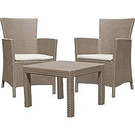ALLIBERT 219990 Rosario Balcony Salon de Jardin avec 2 Fauteuil et 1 Table en Plastique Effet rotin Cappuccino