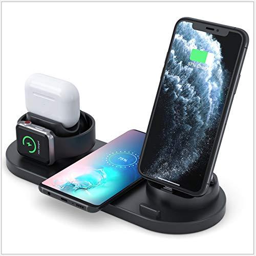 Caricatore Wireless,Caricabatterie Wireless 4 in 1, modalità Comodino per iWatch Series 5/4/3/2/1 e AirPods PRO, Ricarica Rapida Wireless da 7.5W per iPhone 11/PRO Max/XS/XR