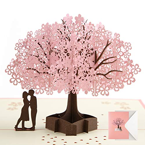 Pop Up Card Birthday Card Anniversary Card for Wife Girlfriend Cherry Blossom 3D Card Greeting Card Wedding Card Valentine's Day Card for Her Him Husband Couple Parents