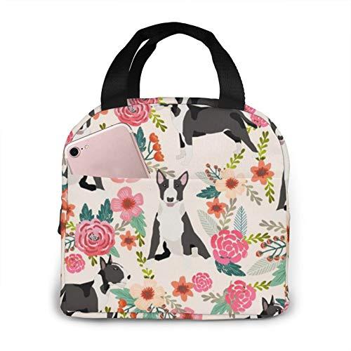 Bull Terrier - Bolsa de almuerzo grande para mujeres y niñas, diseño floral, color crema