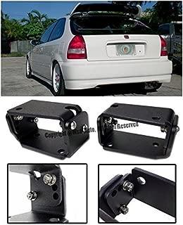 EOS Rear Wing Spoiler Riser Extender Lift Tilt Kit Black - For Honda Civic 3 Door Hatchback EK9 96-00 1996 1997 1998 1999 2000