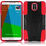 Mystcase (TM) For Samsung Galaxy Note 4 Advanced Layer HYBRID KICKSTAND Rubber Phone Case Cover + Screen Protector (Black Red)