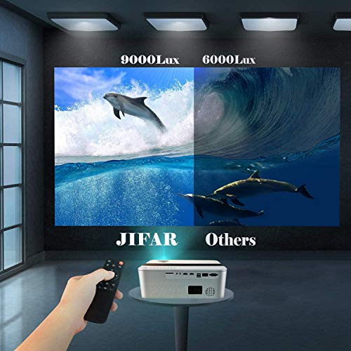 """Native 1080P Projector with 450""""Display,9000 Lux HD 4K Projector for Outdoor Movies,Support 4k,Dolby,Zoom, Keystone Correction,Compatible with TV Stick,HDMI,VGA.USB,Smartphone,PC"""