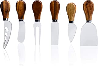 ONIPU Cheese Knives with Wood Handle Stainless Steel Cheese Slicer Cheese Cutter Cheese Fork,6-Piece Cheese Spreading Knife Sets for Charcuterie Boards, Cutlery Gift Set (6-wood handle cheese knives)