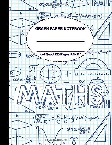 Graph Paper Notebook: Grid Composition Notebook for Math and Science Students Blank Quad Ruled (4 squares per inch), 8.5'' x 11'', 120 pages