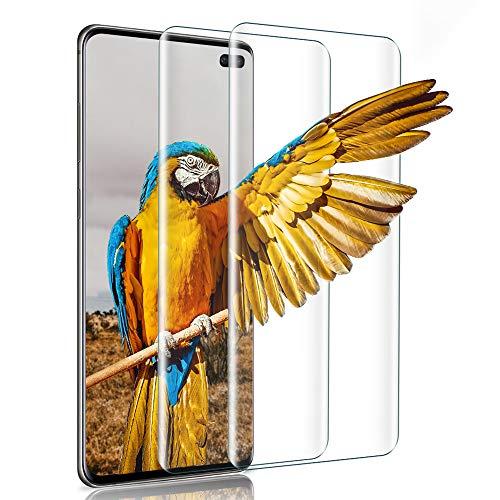 wsiiroon Panzerglas Folie Kompatibel Samsung Galaxy S10 Plus, [2 Stück] 9H Härte Transparent Displayschutzfolie, HD Anti-Kratzen Display Panzerglasfolie, 3D Touch Schutzfolie