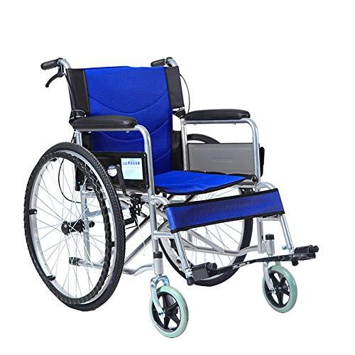 Huhu Klappbare tragbare Rollstühle, Trolleys für ältere Menschen, Motorroller für Behinderte, leichte Rollstühle mit feststellbarer Handbremse. Die Last beträgt 200 Pfund,Blau