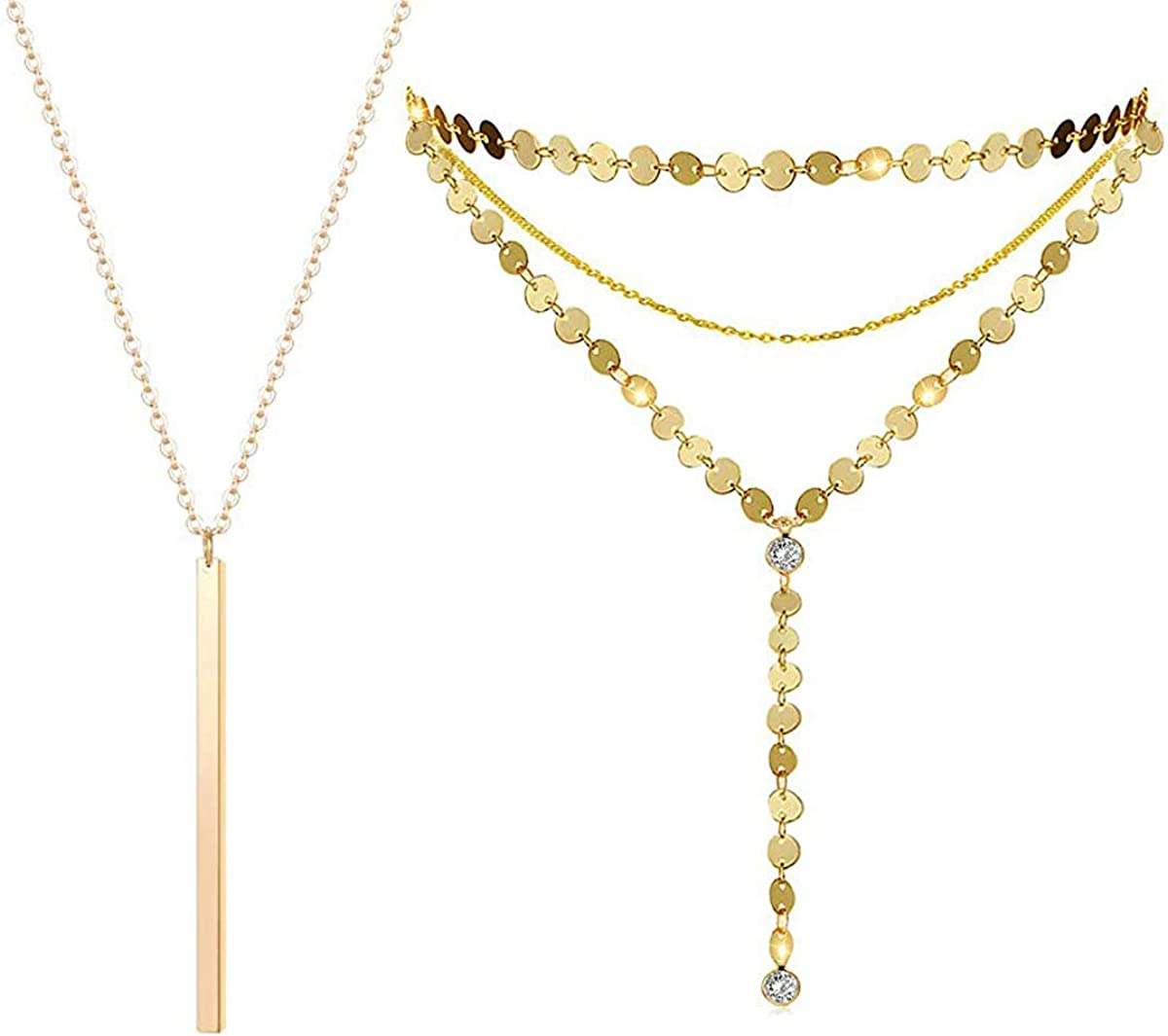 Dolovely Gold Y Layered Sequins Disc Choker Necklace Bar Pendant Thin Long Chain Necklace for Women Jewelry