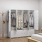 GEORGE&DANIS Wardrobe Portable Closet Cube Storage Organizer Dresser Carbinet Shelf Plastic DIY Furniture, White, 18 inches Depth, 4x4 Tiers