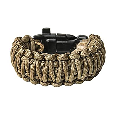Grand Way Paracord Bracelet kit - Outdoor Survival Bracelet with Compass Whistle fire Starter and Scraper - Coyote Brown Tactical Paracord Bracelet – Double Cobra Paracord Bracelet - Medium Size